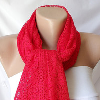 Tulle Red Shawl wrap scarf by Periay on Etsy