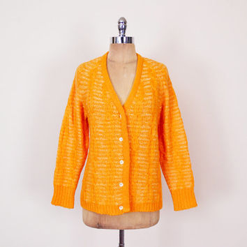 Italian Mohair Cardigan Mohair Sweater Orange Cardigan Orange Sweater 60s Cardigan 60s Sweater Mod 70s Cardigan 70s Sweater Hippie M Medium