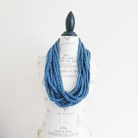 Denim Blue Crochet Scarf  Jersey Style  Bohemian by SistersLace