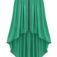 Green Mini Dress - Bqueen Asymmetrical Maxi Skirt Green | UsTrendy