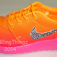 HOT!! Nike Roshe Run Print Shoes - Atomic Mango / White / Pink Glow - Bedazzled with Swarovski Elements Crystals