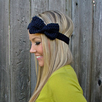 Navy Blue Bow Headband with Natural Vegan Coconut by HillNTrees