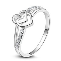 MP Double Hearts Upper AAA High Quality CZ Smooth Surface Rhodium Plated Ring JDP 0618