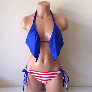 Simple ruffle top and patriotic stripe bottoms