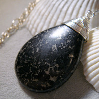 Black Necklace with Sterling Silver Wire Wrapping by TraceDesigns
