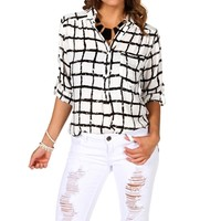 Ivory Square Printed Marilyn Top