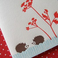 Letterpress Thank You Notes Set hedgehogs by luckybeepress