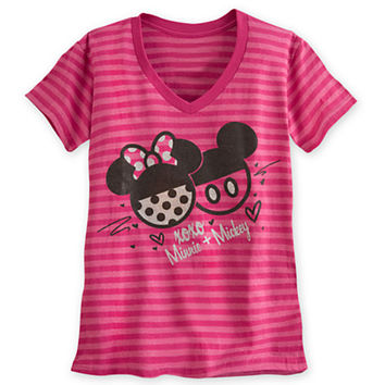 Mickey and Minnie Mouse Icons Striped Tee for Women