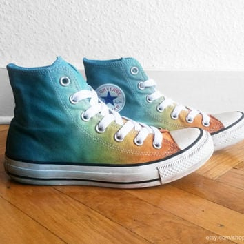 Orange & light teal ombre Converse, beach ombre, upcycled vintage sneakers, dip dye all stars, UK 5 (eu 37,5, US wo's 7,  US men's 5)