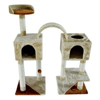 "Pawhut 46"" Cat Tree Scratching Post Toy Condo Furniture House - Beige / Brown"