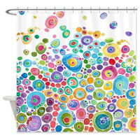 Artistic Shower Curtain - Inner Circle Bubbles - Abstract Watercolor colorful shower curtain, blue, teal, yellow, pink, green