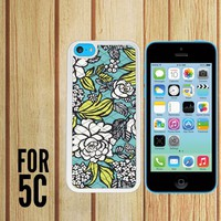 Blue Pattern Custom made Case/Cover/skin FOR Apple iPhone 5c - White - Rubber Case (Ship From CA)