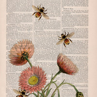 Wall art home decor Bees with flowers 2 Dictionary art poster print- Wall decor bees insect wall hanging - Wall art gift for her. Poster art