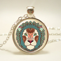 Zodiac Leo Necklace Leo Art Pendant Charm With Necklace by rainnua