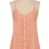 Button down printed chiffon tank