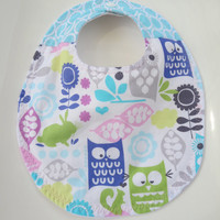 Baby Girl Bib, Woodland Baby, Owls, Teething Baby Bib, Bib with Snap