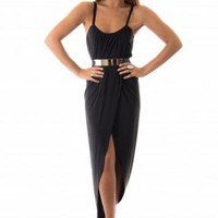 Black Belted Empire Maxi Dress