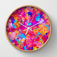 FLORAL FANTASY Bold Abstract Flowers Acrylic Textural Painting Neon Pink Turquoise Feminine Art Wall Clock by EbiEmporium