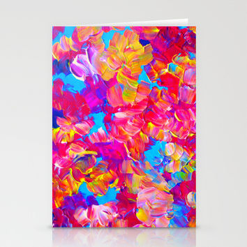 FLORAL FANTASY Bold Abstract Flowers Acrylic Textural Painting Neon Pink Turquoise Feminine Art Stationery Cards by EbiEmporium