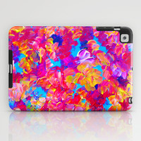 FLORAL FANTASY Bold Abstract Flowers Acrylic Textural Painting Neon Pink Turquoise Feminine Art iPad Case by EbiEmporium