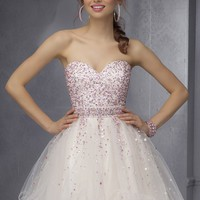 Sticks & Stones by Mori Lee 9286 Contrast Beaded Party Dress