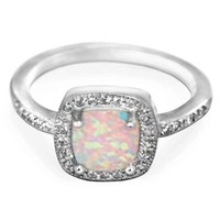 Princess White Opal CZ Ring 9MM Sterling Silver 925