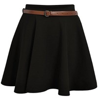 Ditzy Fashion Women's Belted Skater Flared Jersey Plain Mini Party Dress Skirt Medium / Large Black