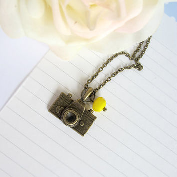 A Camera Necklace, Simple Everyday Jewelry. Photographer Gift, Photography, Memories, Traveller. Modern Pendant. Gift Under 25