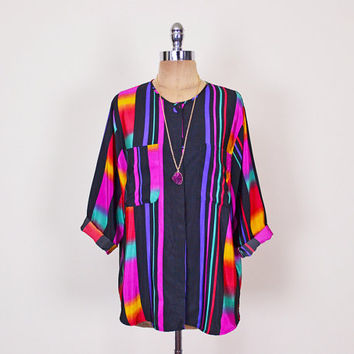 Black Rainbow Shirt Rainbow Blouse Ombre Shirt Ombre Blouse Stripe Shirt Stripe Blouse Oversize Shirt Slouchy Shirt Tunic 80s 90s S M L XL