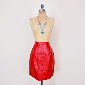 Lipstick Red Leather Skirt 80s Leather Mini Skirt Motorcycle Skirt Moto Biker Skirt Pencil Skirt Wiggle Skirt Red Skirt 80s Skirt S Small