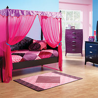 Belle Noir Dark Merlot 6 Pc Canopy Daybed Bedroom