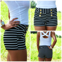 Coastal Bliss Black Striped Mini Shorts
