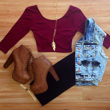 Criss Cross Crop Top  Burgundy