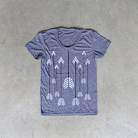 Womens tshirt - white arrows on gray - Headhunter by Blackbird Tees