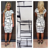 All The Right Angles Black And White Printed Dress