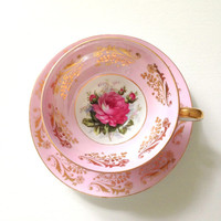 Vintage Royal Sealy China Japan Rose Blossoms Lusterware Tea Cup and Saucer Tea Party