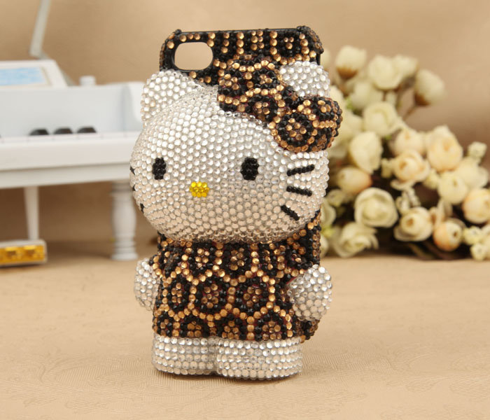 iPhone 4S 4G 3GS iPod Touch Hello Kitty Leopard Artificial Rhinestone Case