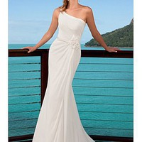 Buy Charming  One Shoulder Sheath Chiffon Mermaid Wedding Dress For Your Beach Wedding