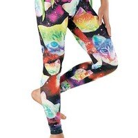Galaxy Cat Print Leggings - See You Monday