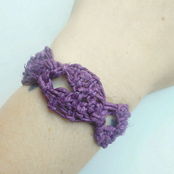 Purple Hearts Macrame Hemp Bracelet, ready to ship.