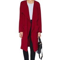 Rain or Shine Draped Jacket - Oxblood