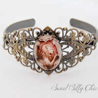 Gryffindor Inspired Vintage Style Cuff Bracelet, Antique Brass Filigree Gryffindor Crest Bracelet, Harry Potter Jewelry