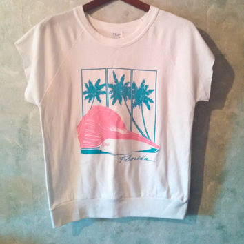Awesome 80s Florida Short Sleeve Sweatshirt with Pink & Turquoise Beach Design, Palm Trees, Seashell