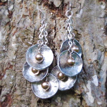 Antique silver tone 3 disc drop earrings with Swarovski bronze color crystal pearls.