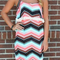 Fringe Neon Coral Chevron Dress
