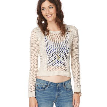 Sheer Cable Crop Sweater