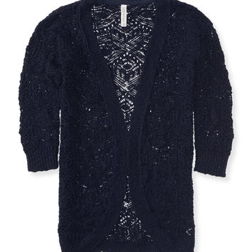 Sheer Geo Stitch Cocoon Cardigan