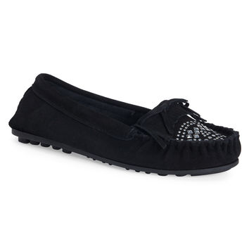 Studded Faux Suede Moccasin
