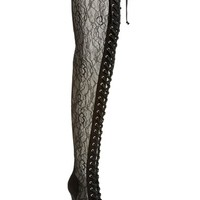 ZiGi girl 'Pria' Lace Inset Thigh-High Boot with Corset Laces (Women)