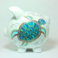 """Sea Turtle Piggy Bank  - Hand Painted Ceramic - Large Size: 8"""" x 7.5"""" x 7"""""""